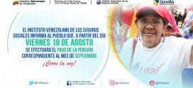 El viernes 18 de agosto se hará efectivo el pago de las pensiones
